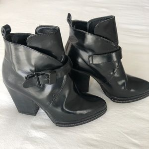 Zara Black Buckle Ankle Boots
